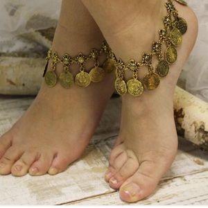 Retro bronze boho tassel coin anklet bracelet NEW